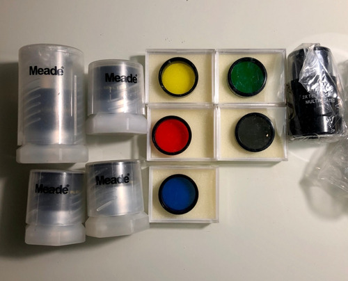 oculares, filtros e lente meade para telescópio