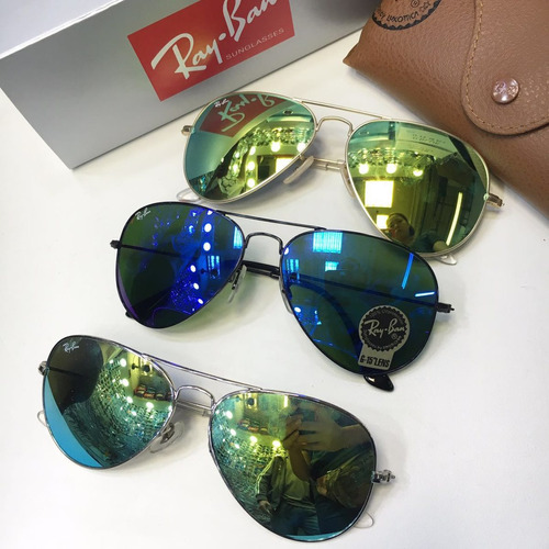 óculos 002 ray ban aviador varias cores espelhado 12x s / j