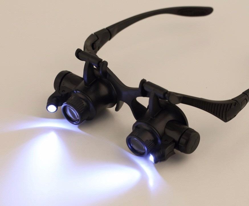 91d5315f51460 Óculos 8 Lentes Aumento Lupa Reparo Relojoeiro Joias Luz Led - R  89 ...