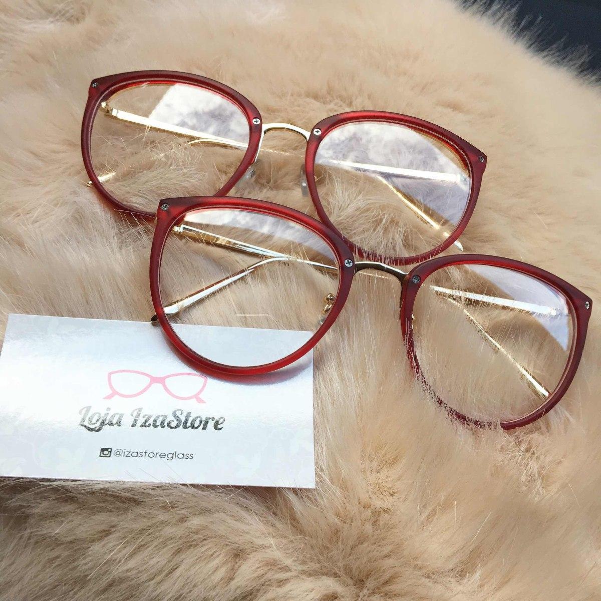 08758c7512bd4 oculos armacao vermelha transparente redonda. Carregando zoom.