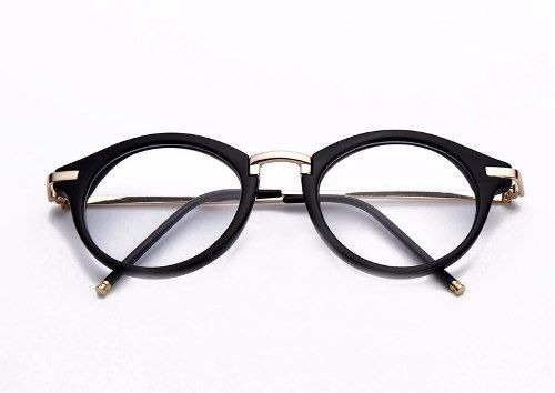 71a348a6fa526 Óculos Armação Acetato Preto Feminino Redondo Metal + Brinde - R  59 ...
