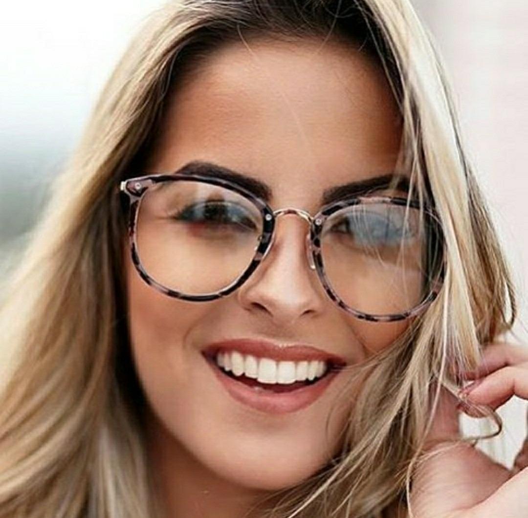 615024aeb78b0 óculos armação da moda lente transparente redondo promoção. Carregando zoom.