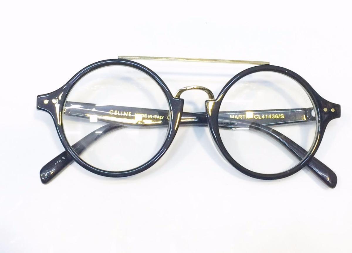 b3f16a15e9c óculos armação de grau celine acetato preto redondo -ce501. Carregando zoom.