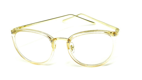 óculos armação de grau feminino redondo geek metal c/ brinde