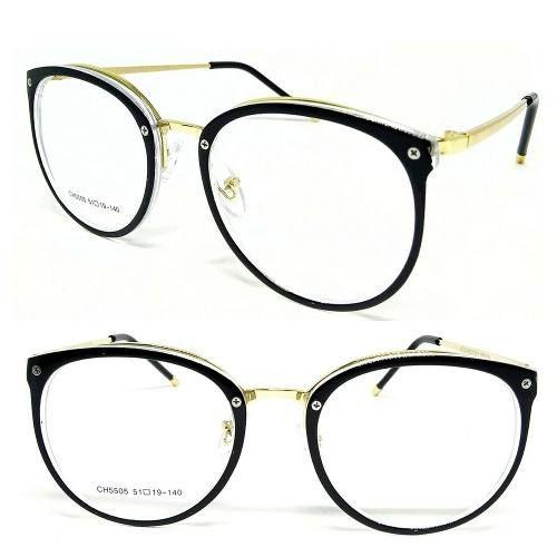 Óculos Armação De Grau Feminino Redondo Geek Metal Dourado - R  75 ... 481d6377a2