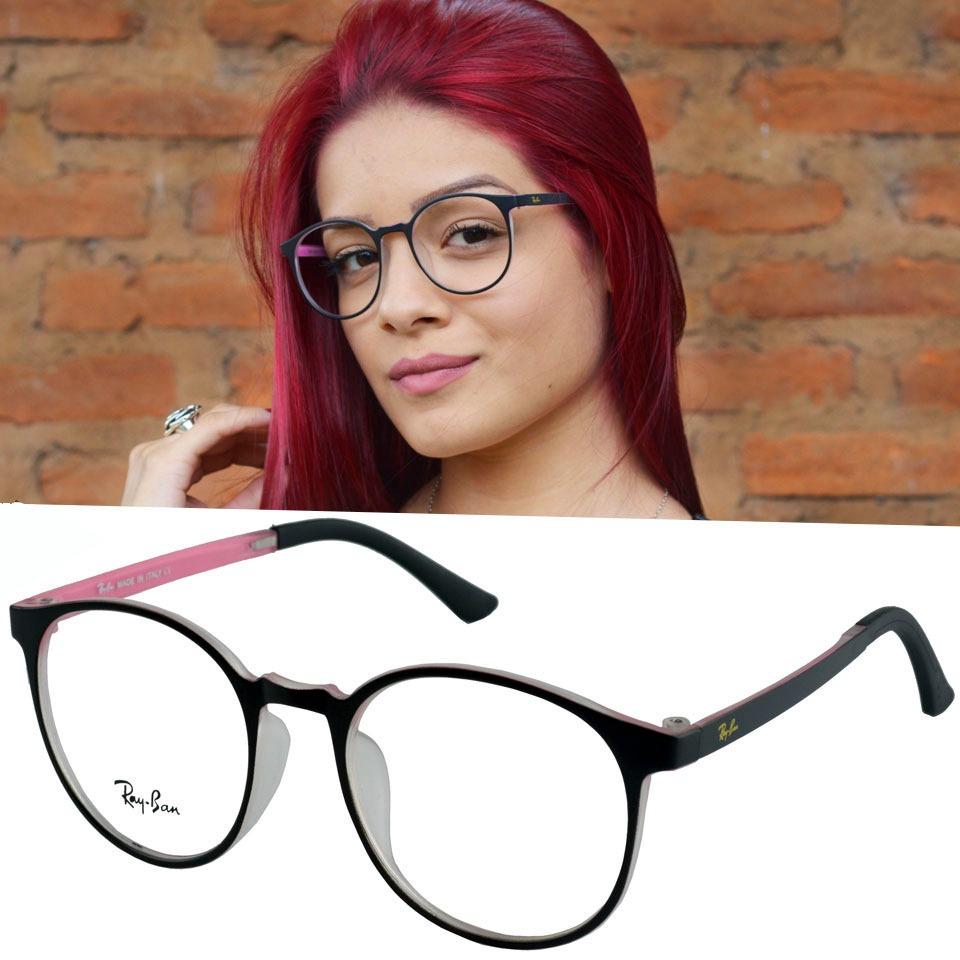4a44dbcf4 óculos armação de grau rayban retro redondo preto feminino. Carregando zoom.