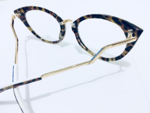 Oculos Branco Onça Armação De Grau Fendi Tendencia -fe101 - R  135 ... 6434f4bc1d