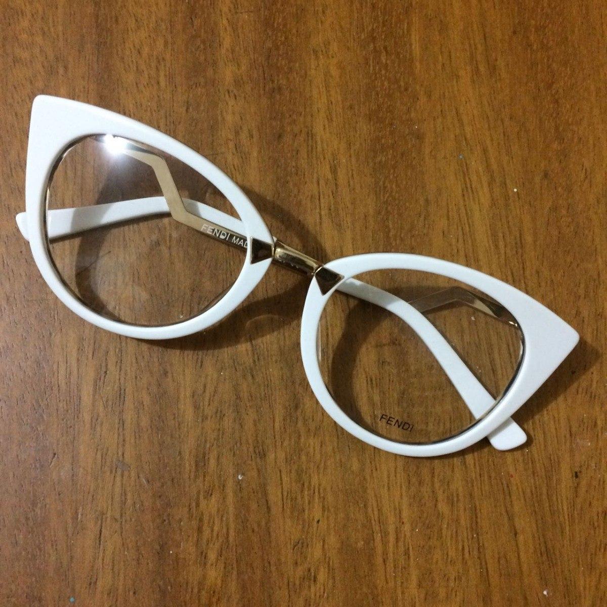 b7c1aa2a2e667 Óculos Armação De Grau Fendi Branco Envio Imediato -fe101 - R  135 ...