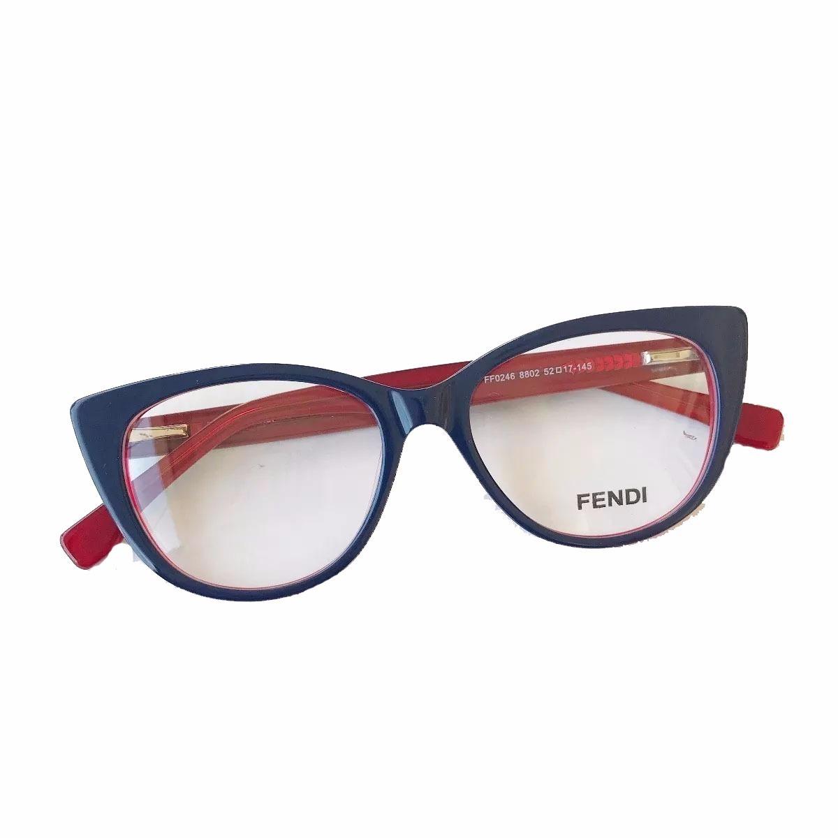 90c80f0e4f547 oculos armação fendi de grau estilo gatinho acetato preto. Carregando zoom.