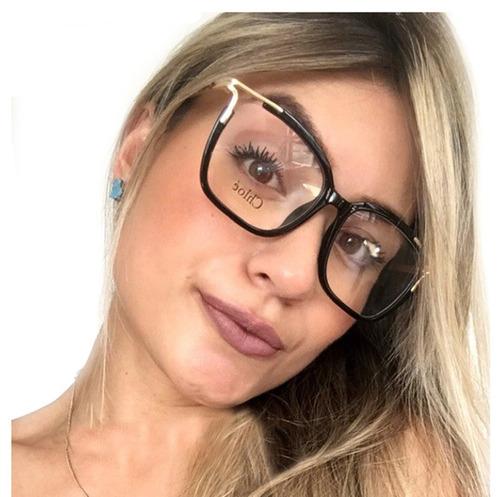 óculos armação grau feminino quadrado acetato+brinde cl2689