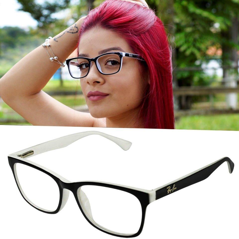 óculos armação grau quadrado feminino mulher rayban geek lan. Carregando  zoom. e01a6dfdbd