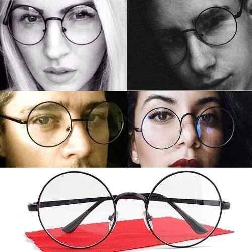 Óculos Armação Redondo Fake Transparente Preto Sem Grau Moda - R  39 ... 00fb67ac61