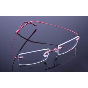 ab941ba1d8ce5 Armação Óculos Grau Sem Aro Feita De Titanium Vermelho A406. R  69 99