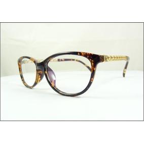 bdf4a50271c23 Armação Óculos De Grau Tartaruga Haste Corrente Dourada A508