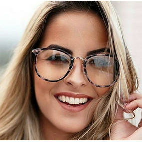b49c4186cce96 Óculos Feminino Juvenil Redondo Tendência Sem Grau Acetato