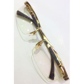 16a89fa7d Armação Oculos De Grau Cartier Titanium Gold Brown Meio Aro