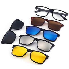 5bba146fe974a Armação De Óculos P  Grau Clip On 6 Em 1 Polarizado E Uv400