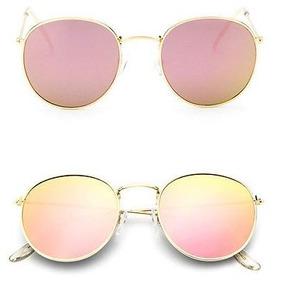 449e8290c8e72 Óculos Espelhado Feminino Olho De Gato Gatinho Metal Redondo