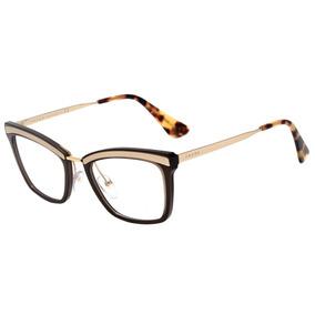 54d4ff5b24011 Prada Pr 15uv - Óculos De Grau Kjm 1o1 Dourado E Marrom Bril