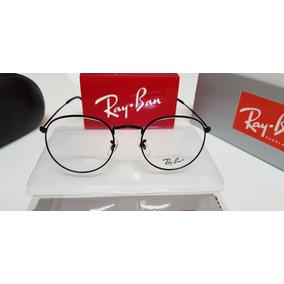 3b484035db3a2 Armação Óculos Ray-ban Grau Round Rb3447 Preto Brilhante