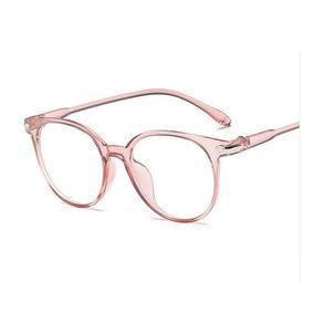 cb35a428c8c15 Armação Óculos P  Grau Retrô Transparente Unisex Rosa