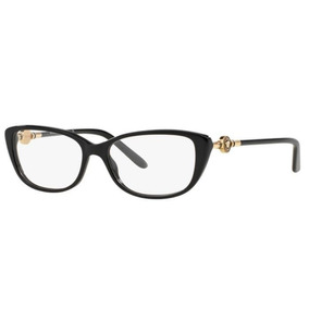 3839a1a504625 Armação Oculos Grau Versace Ve3206 Gb1 54 Preto Dourado Bril