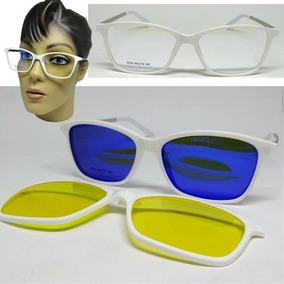 6199da2291f81 Armação Oculos Grau Clip On 3em1 Polarizado Acetato Feminino. R  125