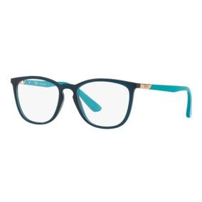 c554378683caa Armação Oculos Grau Ray Ban Rb7136l 5744 52mm Verde Transluc