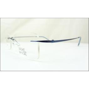 0ed090abb22e8 Armação Oculos Grau Azul De Feita De Titanium Sem Aro A526. R  69 99