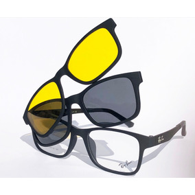 16a7a88064515 Armação Oculos Grau Sol Masculino Rb2088 2 Clip On Brinde