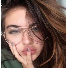 e17fa0844adbd Óculos Sem Grau Falso Da Moda Aviador Feminino Nerd 2019 Dia