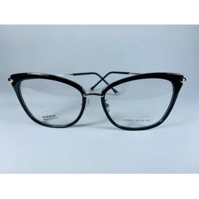 f895c35e8df2a Armação Acetato Grau Óculos Gatinho Preta C pernas De Metal