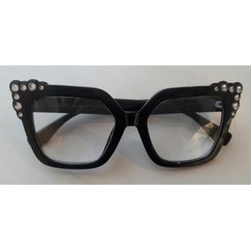 c87079be41c13 Armação De Óculos Para Grau Gatinho Quadrado Com Strass Fend