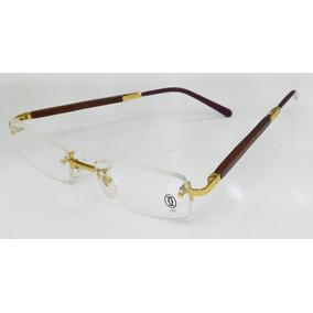 7e3300fdc Armação Oculos Grau Cartier Sem Aro Dourado Haste Madeira