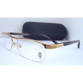 300798261 Armação Para Oculos De Grau Cartier Acetato Meio Aro Gold