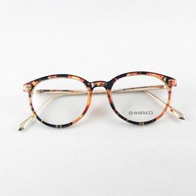 60d4fa6aaed1e Armação Óculos Narducci Dourado E Marrom Rajado