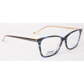 7ba52a3fa7c2c Armação Oculos Grau Ana Hickmann London Ii Ocean Azul Dourad