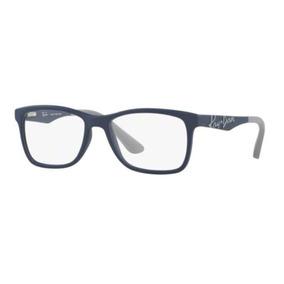 058cde678 Armação Oculos Grau Ray Ban Junior Rb1556 3689 49 Azul Cinza