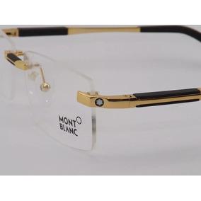 44d51db9bb4be Armação Óculos De Grau Sem Aro Mont Blanc 0349 Gold 2019 · R  119