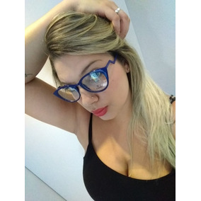 3077a973794ce Armação Óculos Grau Feminino Azul Metal Gatinho Barato. R  39 90