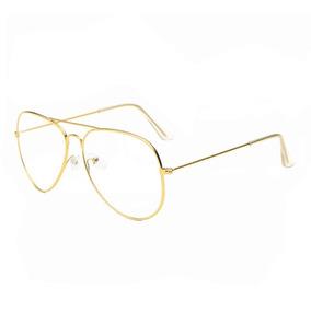 454ae6e219cbe Armação Óculos De Grau Feminino Aviador Dourado Original 088