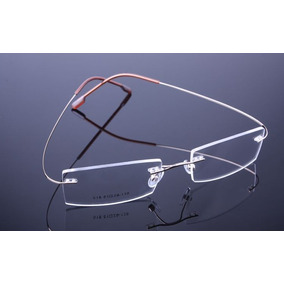 8bff36f986f44 Armação Dourada Óculos De Titanium Super Leve Sem Aro - A578
