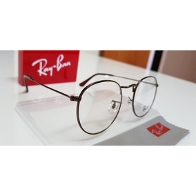 7d2a570b484e3 Armação Óculos Ray-ban Grau Round Rb3447 Bronze