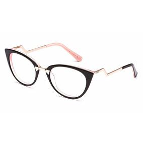 f627fde2f4933 Armação Oculos De Grau Feminino Ff0118 Gatinho Lançamento