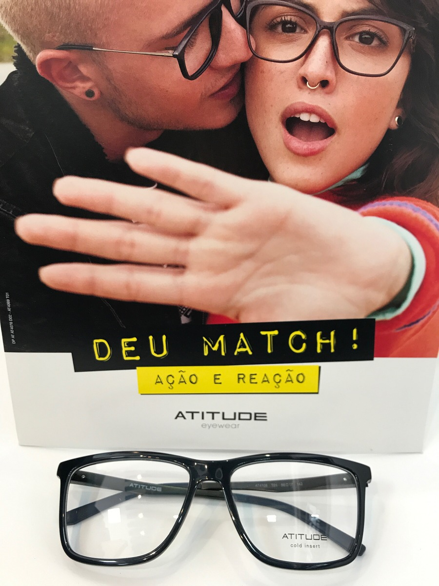 05ab347cb8e2d Óculos Atitude Eyewear At4108 T01 56 17 142 - R  249