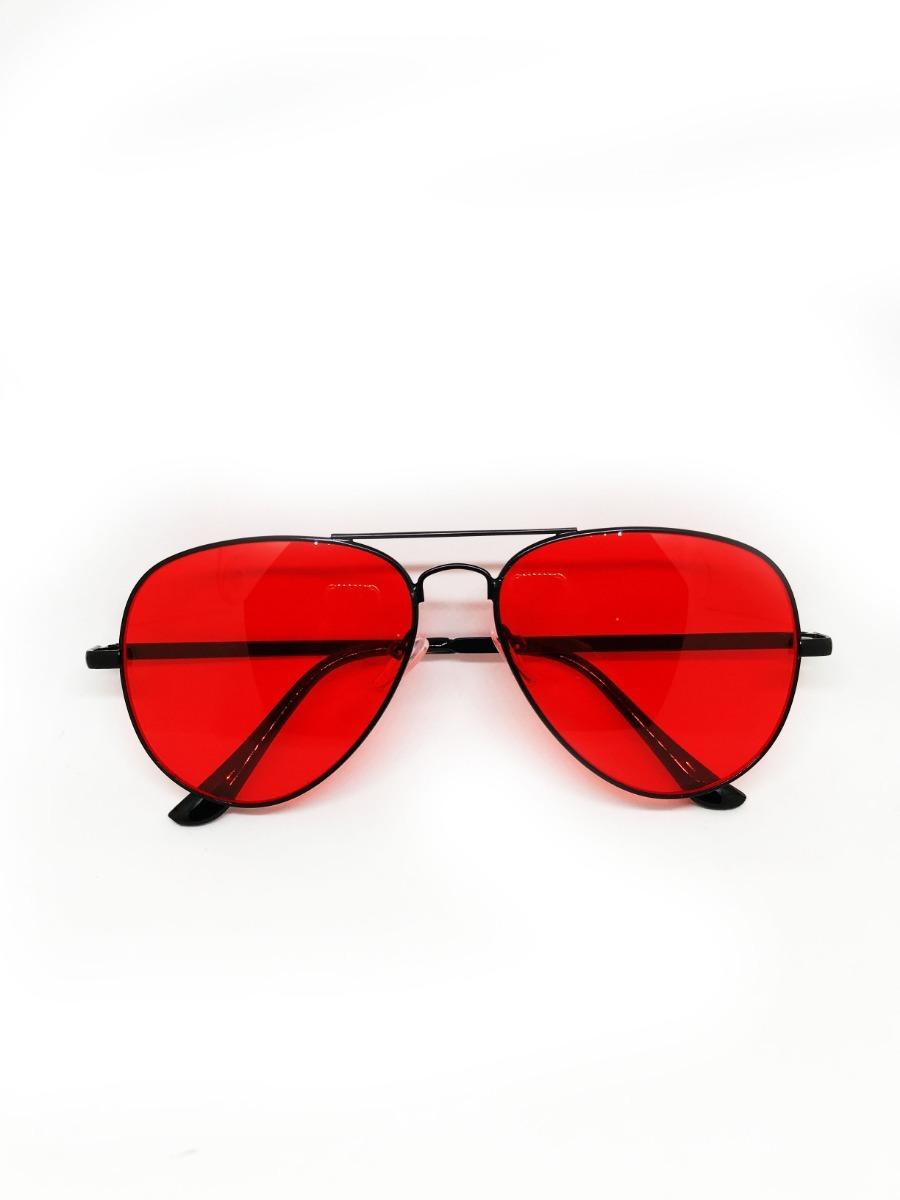 7a6f5ee841f14 óculos aviador de lente vermelha colorida. Carregando zoom.
