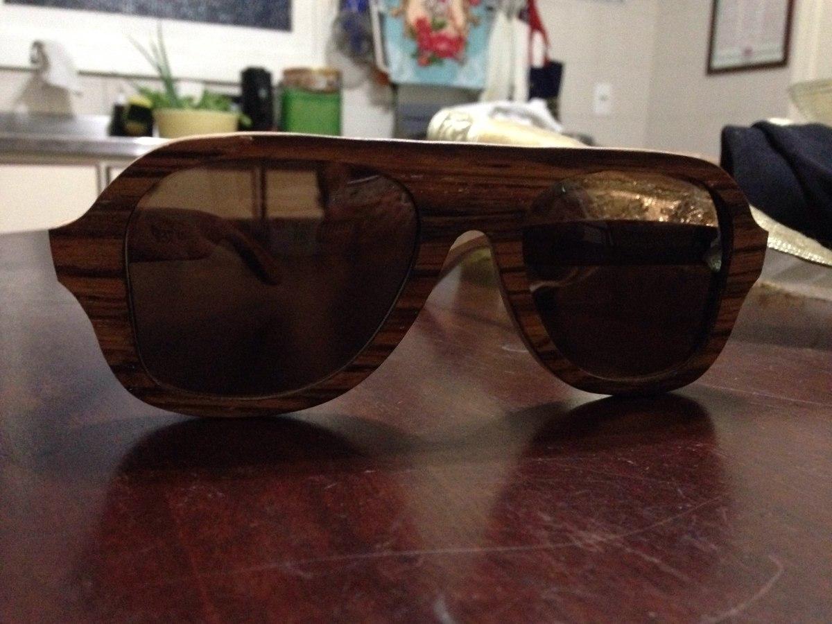 6d7ffceb71e69 Óculos Aviador De Madeira Leaf - R  160,00 em Mercado Livre