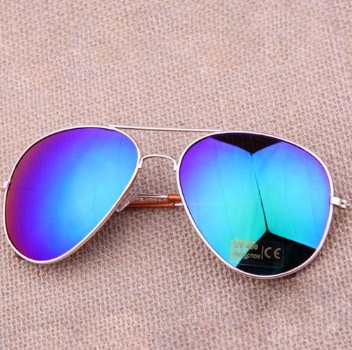 óculos aviador espelhado azul esverdeado unisex proteção uv