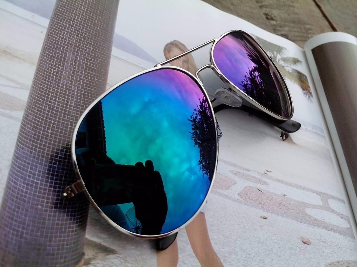 9287e9d4e6284 oculos aviador espelhado azul feminino masculino proteção uv. Carregando  zoom.