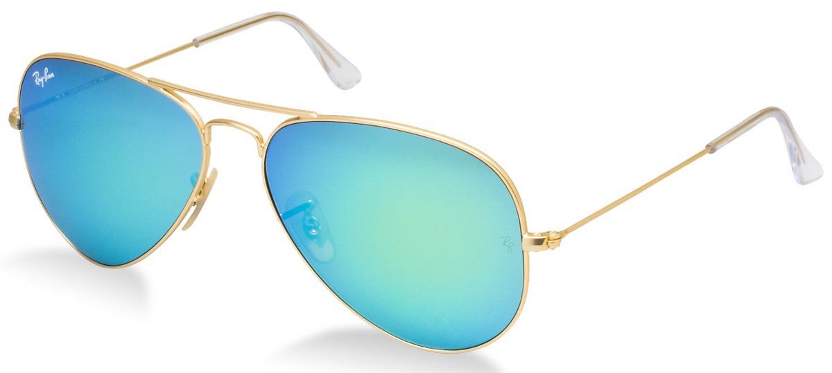 cd5bbbd35f9a0 Óculos Aviador Fem Masc Espelhado Azul Claro - R  70,00 em Mercado Livre